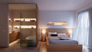 Visión nocturna del dormitorio principal y baño del bloque de viviendas de Illescas - mrdos proyectos, Las Rozas, España
