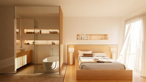 Dormitorio principal y baño del bloque de viviendas de Illescas