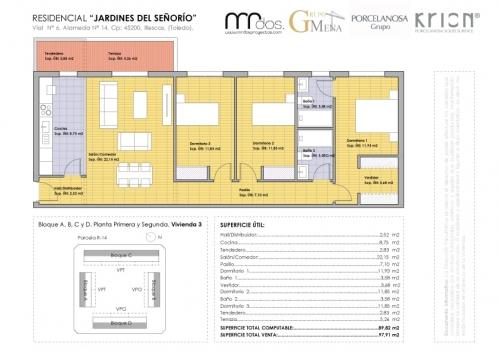 plano vivienda 3 señorio de illescas - mrdos proyectos, arquitectura y construcción